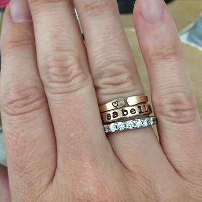 Personalized Stacking Ring Gold  - IsabelleGraceJewelry
