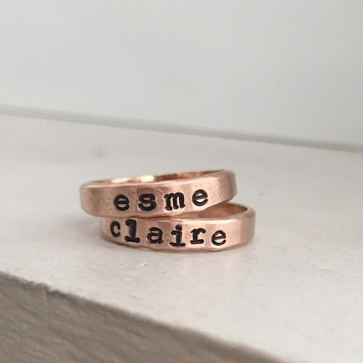 Personalized Stacking Ring  Rose Gold  - IsabelleGraceJewelry