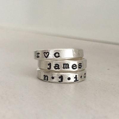 Personalized Stacking Ring Silver  - IsabelleGraceJewelry