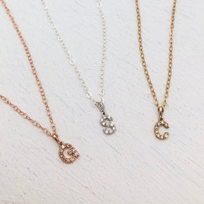 Petite Diamond Initial Necklace