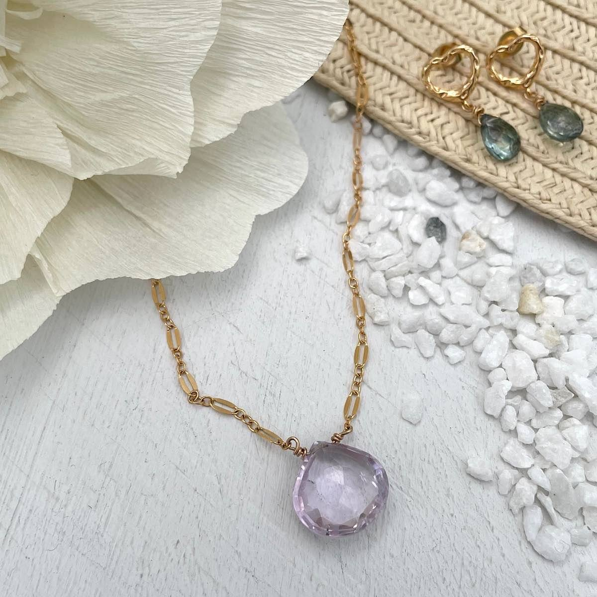 Pink Amethyst Gemstone Necklace