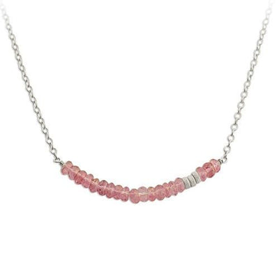 Pink Gemstone Bar Necklace  - IsabelleGraceJewelry