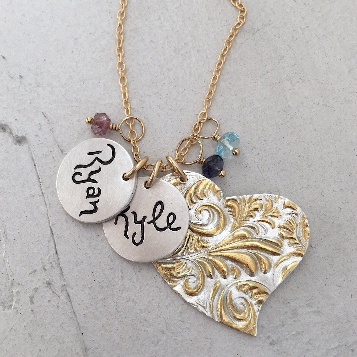Plume Heart Charm Necklace  - IsabelleGraceJewelry