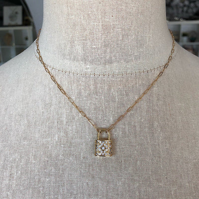 Radiant Lock Pave Necklace