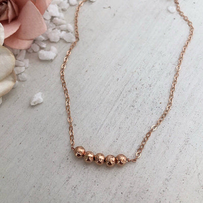 Rose Gold Bead Necklace  - IsabelleGraceJewelry
