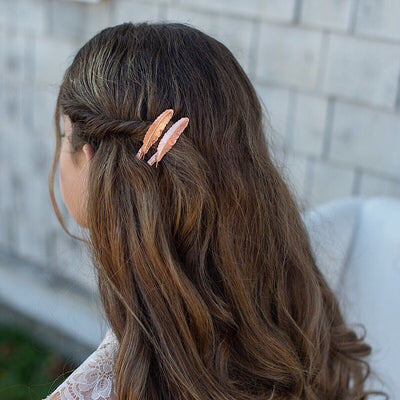 Rose Gold Feather Hair Clip