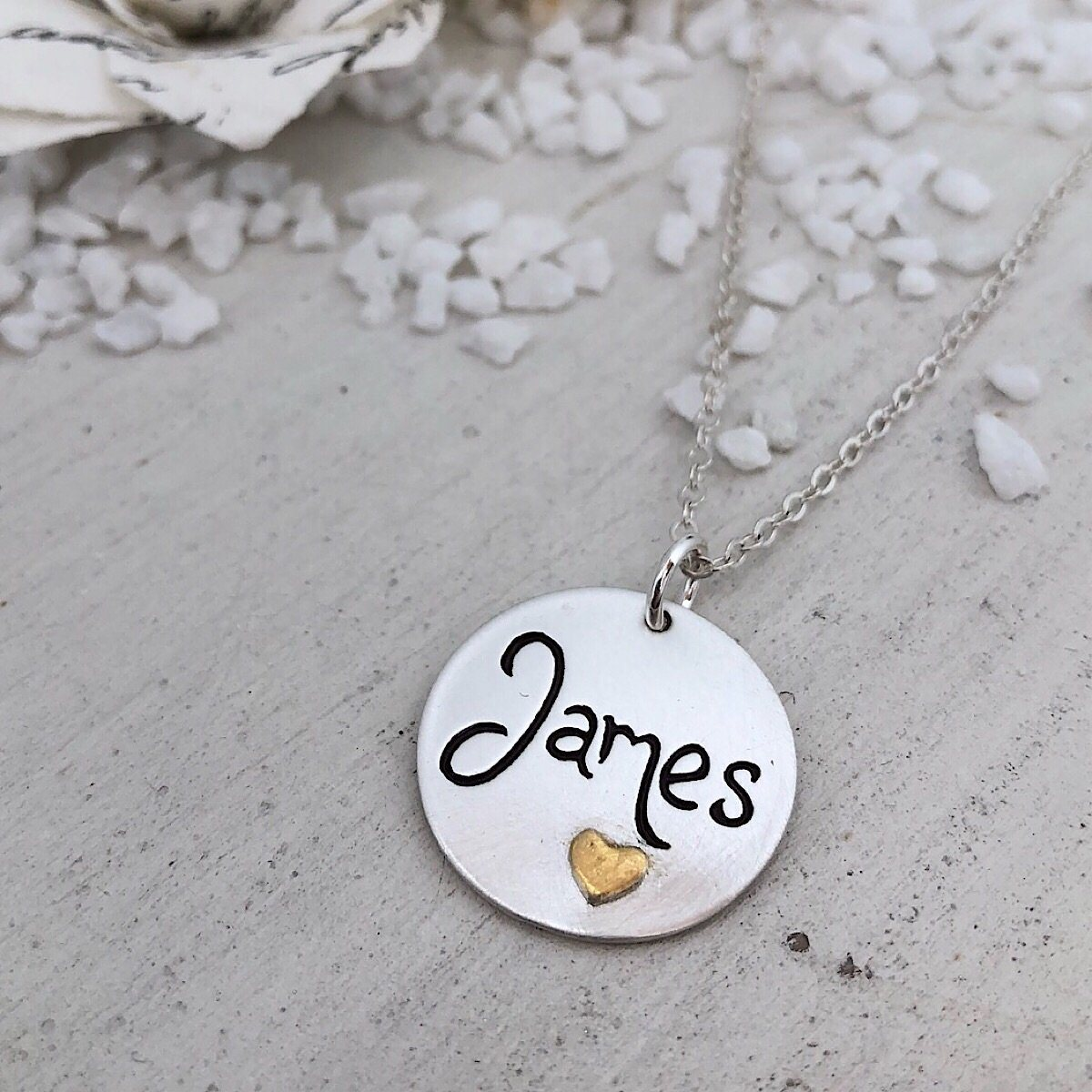 Script Name Charm w/ Gold Heart  - IsabelleGraceJewelry