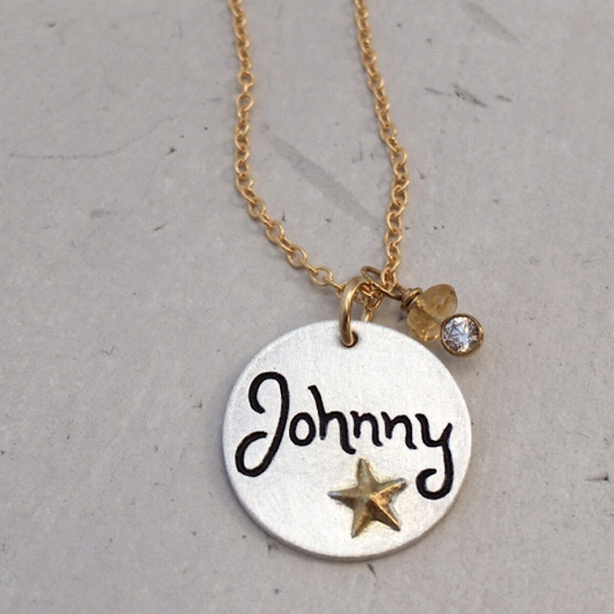 Script Name Charm w/ Gold Star  - IsabelleGraceJewelry