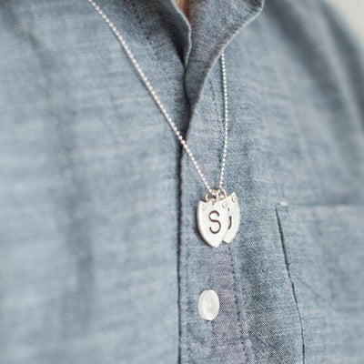 Shield Initial Tag Necklace  - IsabelleGraceJewelry