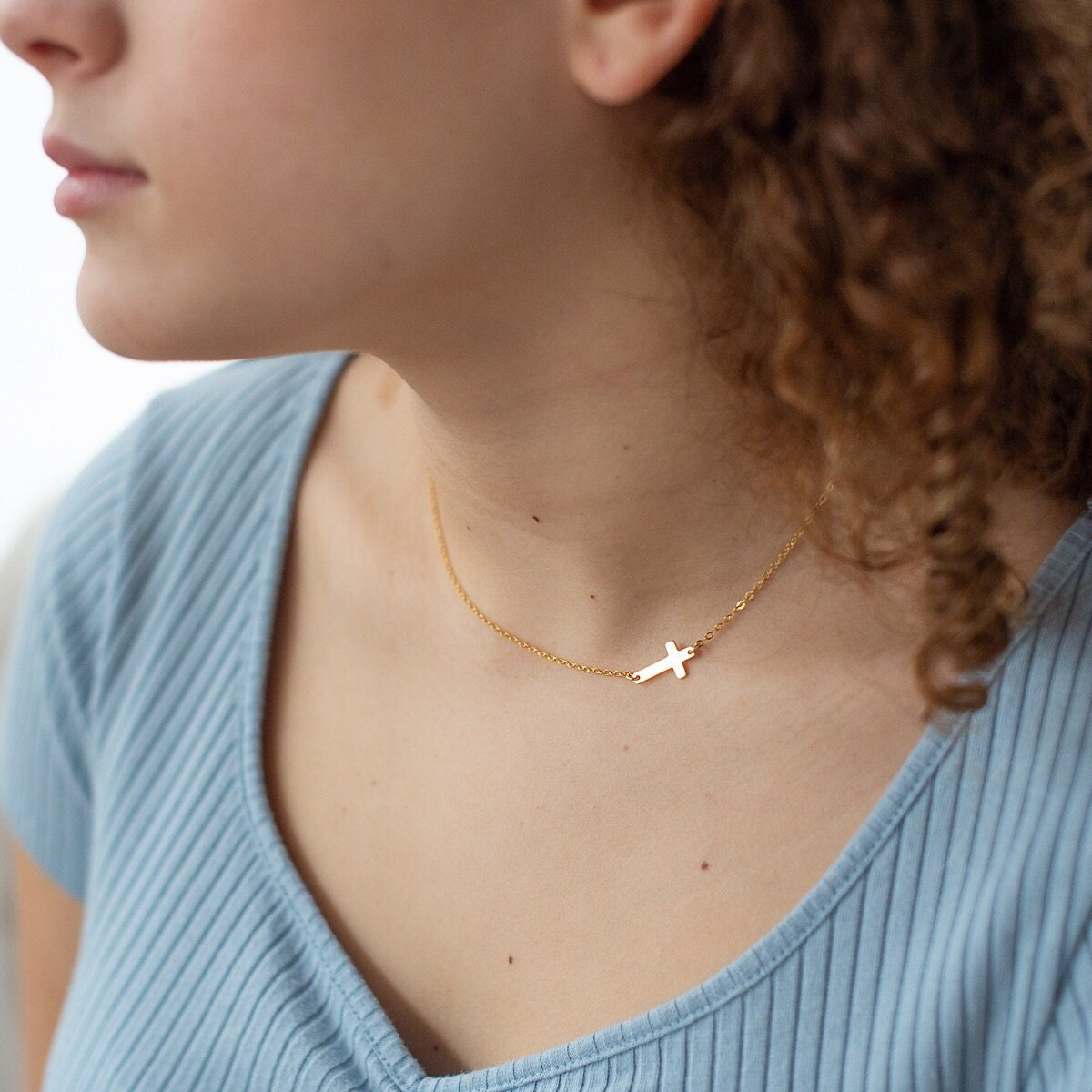 Side Cross Necklace  - IsabelleGraceJewelry