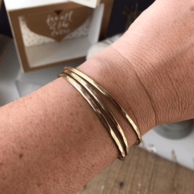 Skinny Shimmer Cuffs - Gold  - IsabelleGraceJewelry