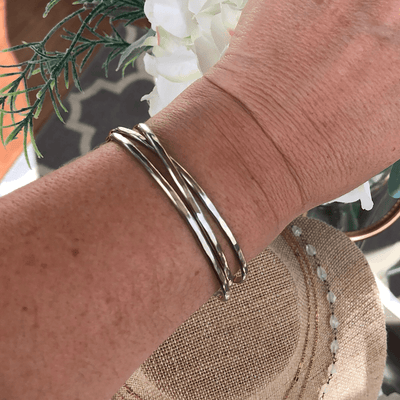 Skinny Shimmer Cuffs - Silver  - IsabelleGraceJewelry