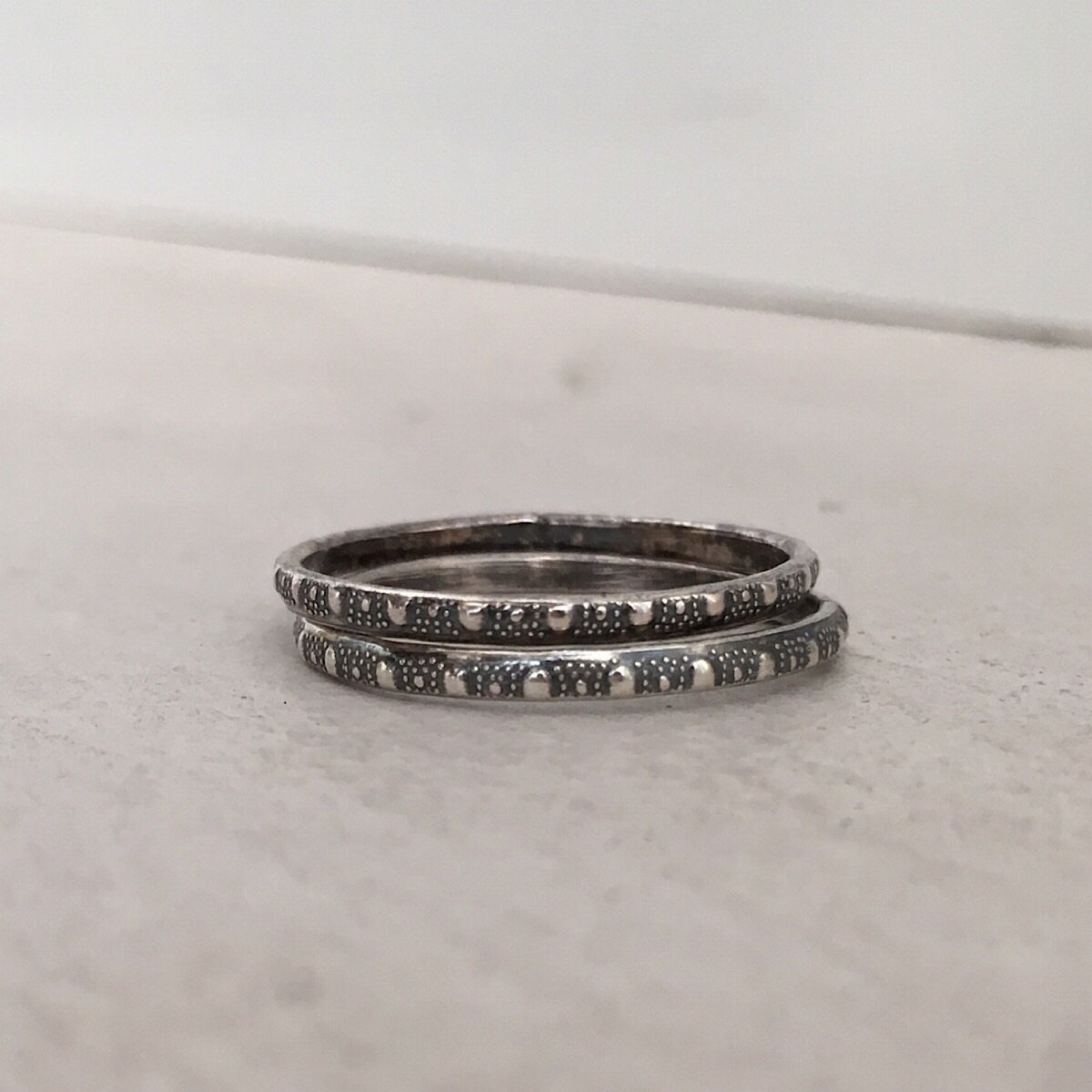 Skinny Stacker Bead Ring Silver  - IsabelleGraceJewelry