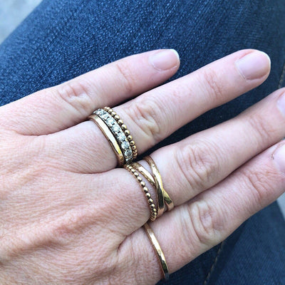 Skinny Stacker Dots Ring Gold  - IsabelleGraceJewelry
