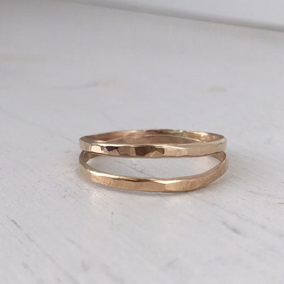 Skinny Stacker Hammered Ring Gold  - IsabelleGraceJewelry