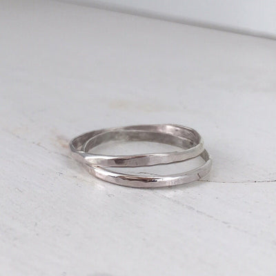 Skinny Stacker Hammered Ring Silver  - IsabelleGraceJewelry