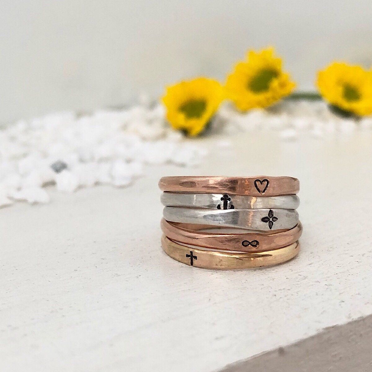 Skinny Symbol Stacker Ring  - IsabelleGraceJewelry