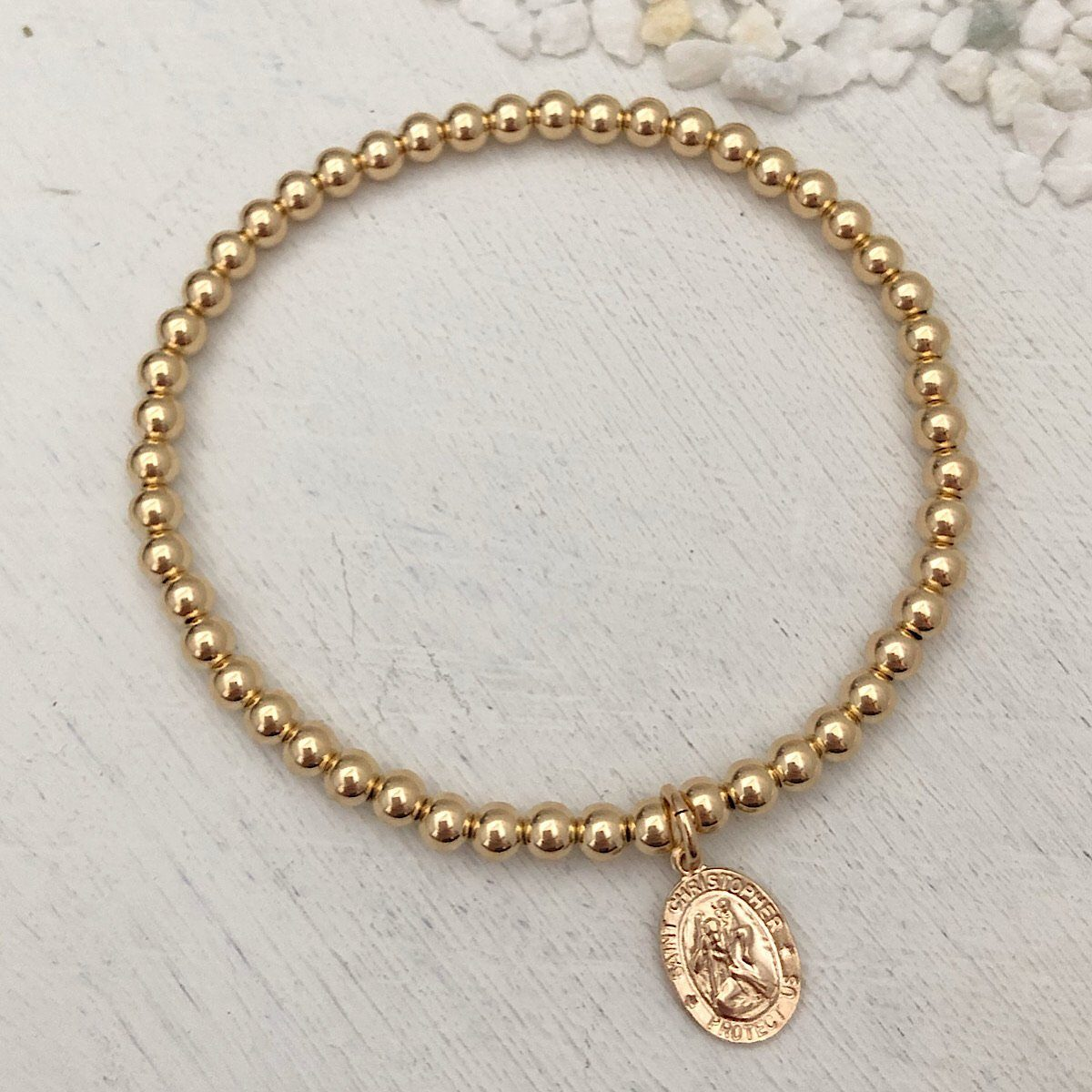 St. Christopher Bead Bracelet Gold Fill