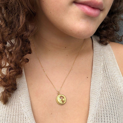Sun and Moon Pendant Necklace  - IsabelleGraceJewelry