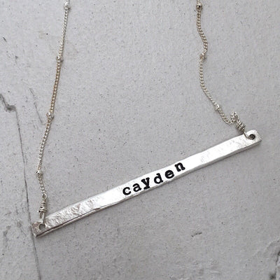 Thin Message Bar Necklace  - IsabelleGraceJewelry