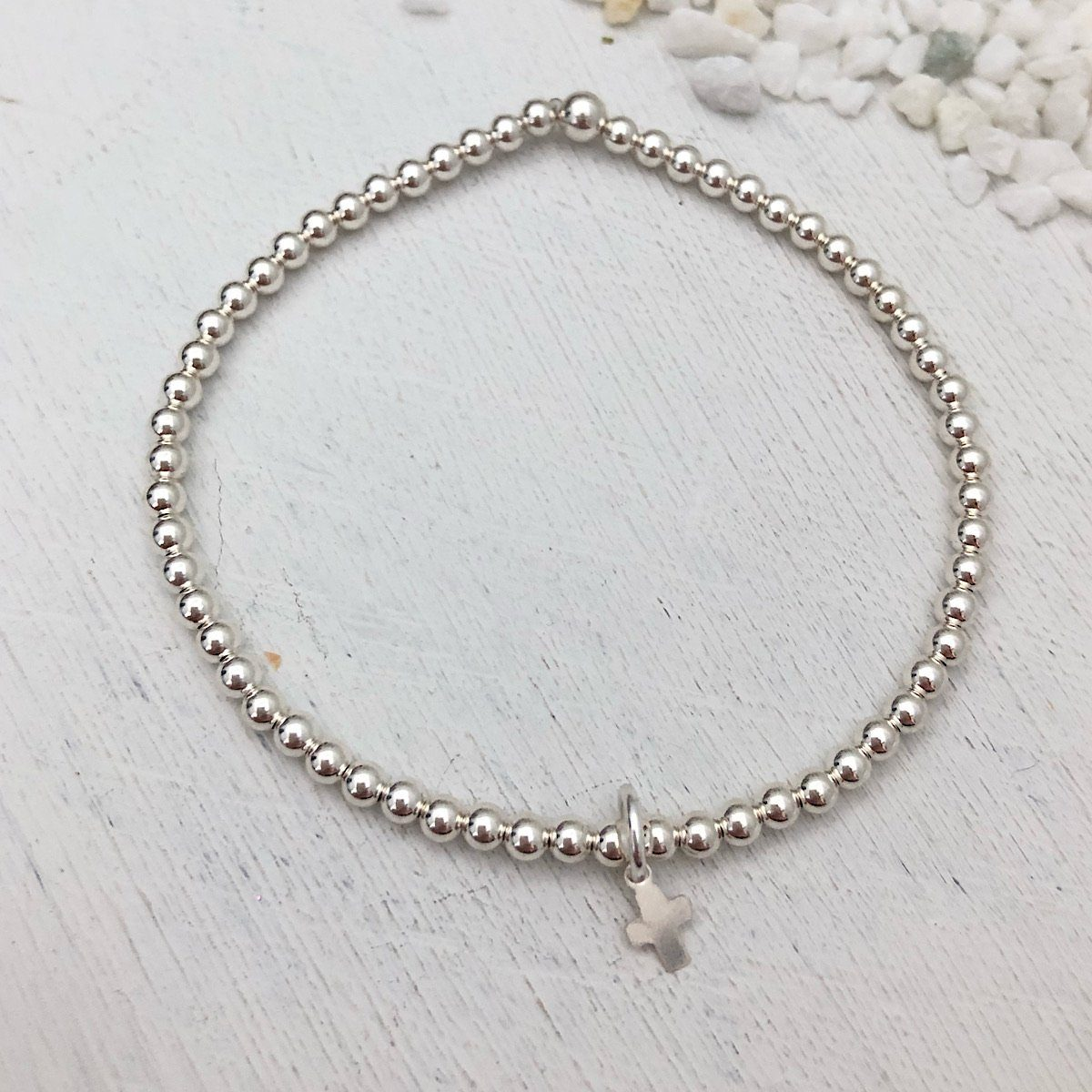 Tiny Cross Bead Bracelet Silver