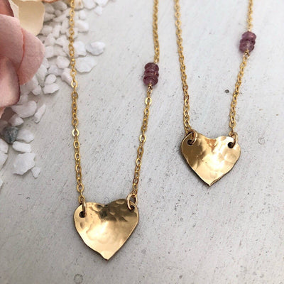 Tiny Hammered Heart  - IsabelleGraceJewelry