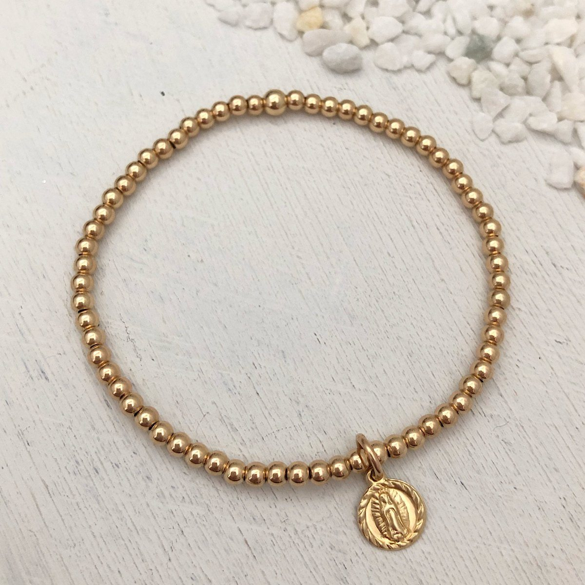 Tiny Virgin Mary Bead Bracelet Gold Fill