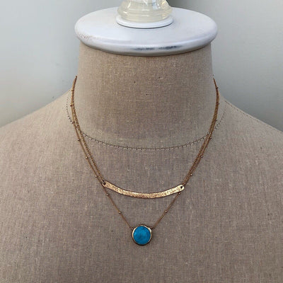 Turquoise Bezel Coin Necklace  - IsabelleGraceJewelry