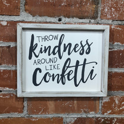 Kindness, Confetti Framed Wood Wall Sign