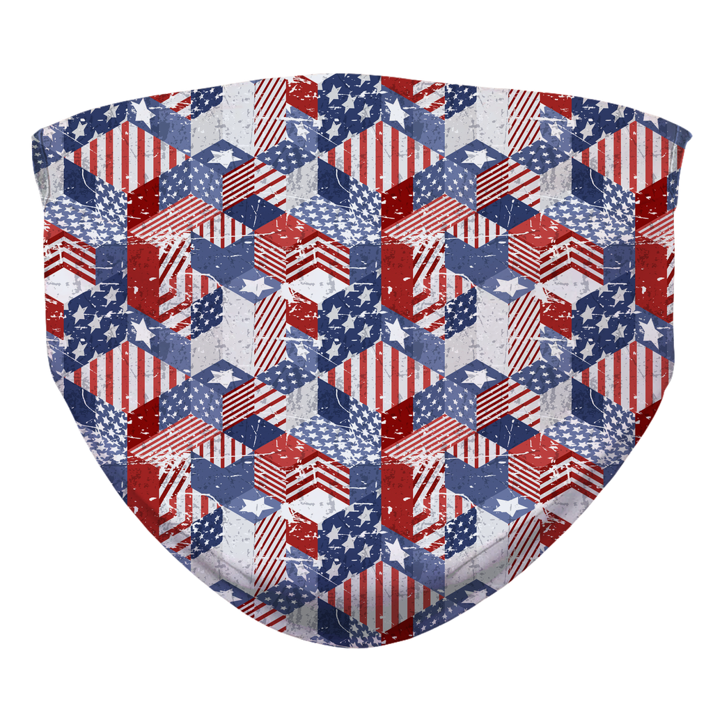 USA Patchwork Sublimation Face Mask