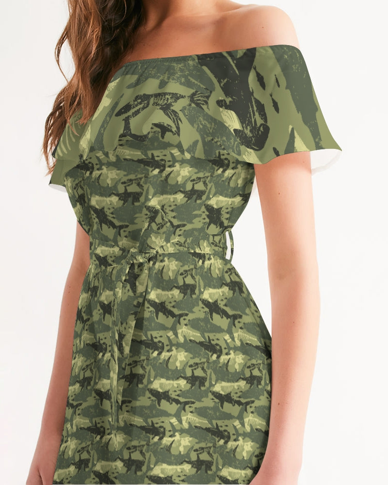 Green Camo Shark Off-Shoulder Dress