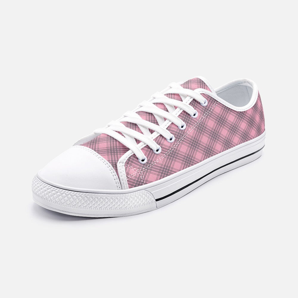 Pink and Black Plaid Unisex Low Top Canvas Shoes
