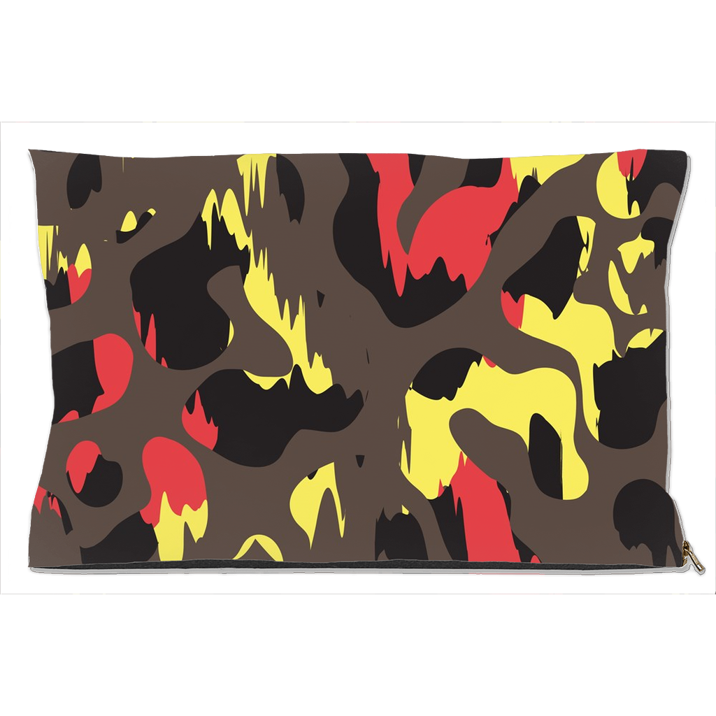 Black, Orange and Red Camouflage Dog Bed