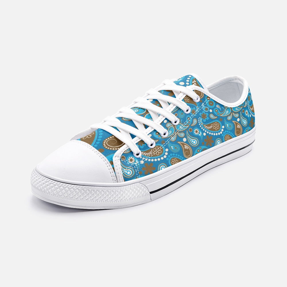 Blue Paisley Unisex Low Top Canvas Shoes