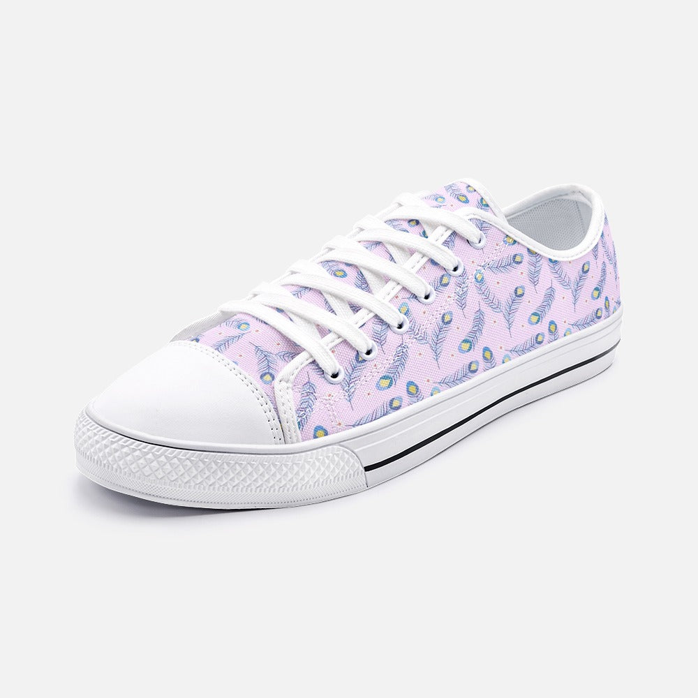 Pink Peacock  Low Top Canvas Shoes