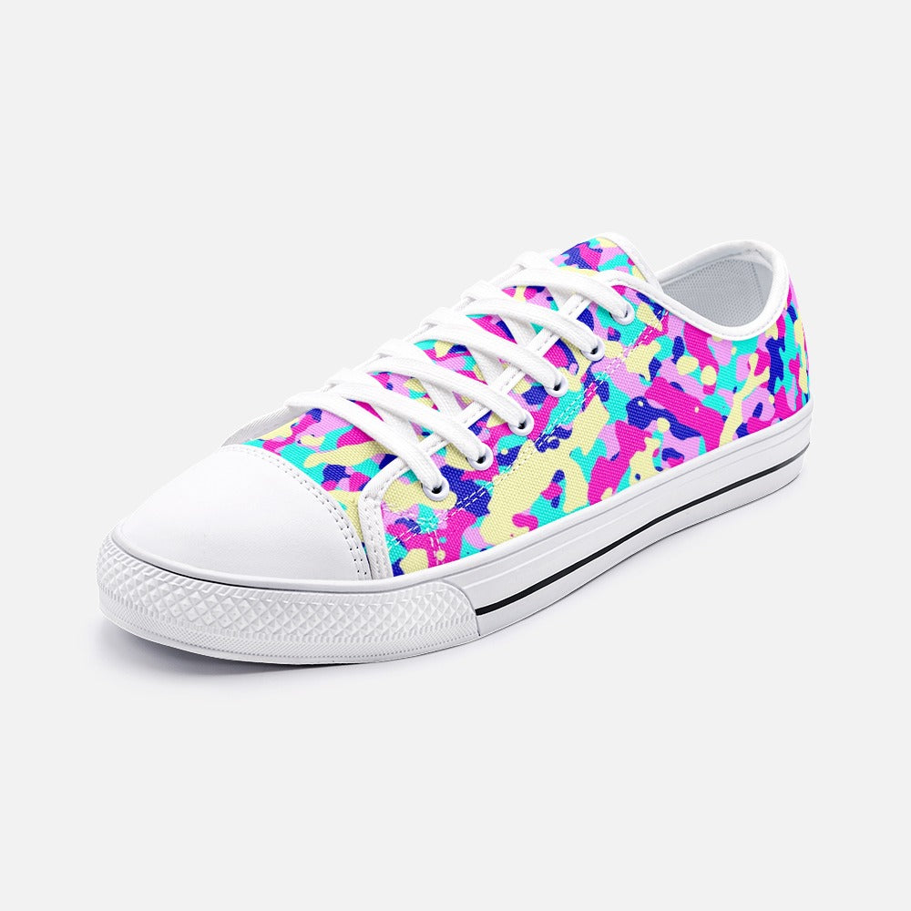 Pink Camouflage Unisex Low Top Canvas Shoes