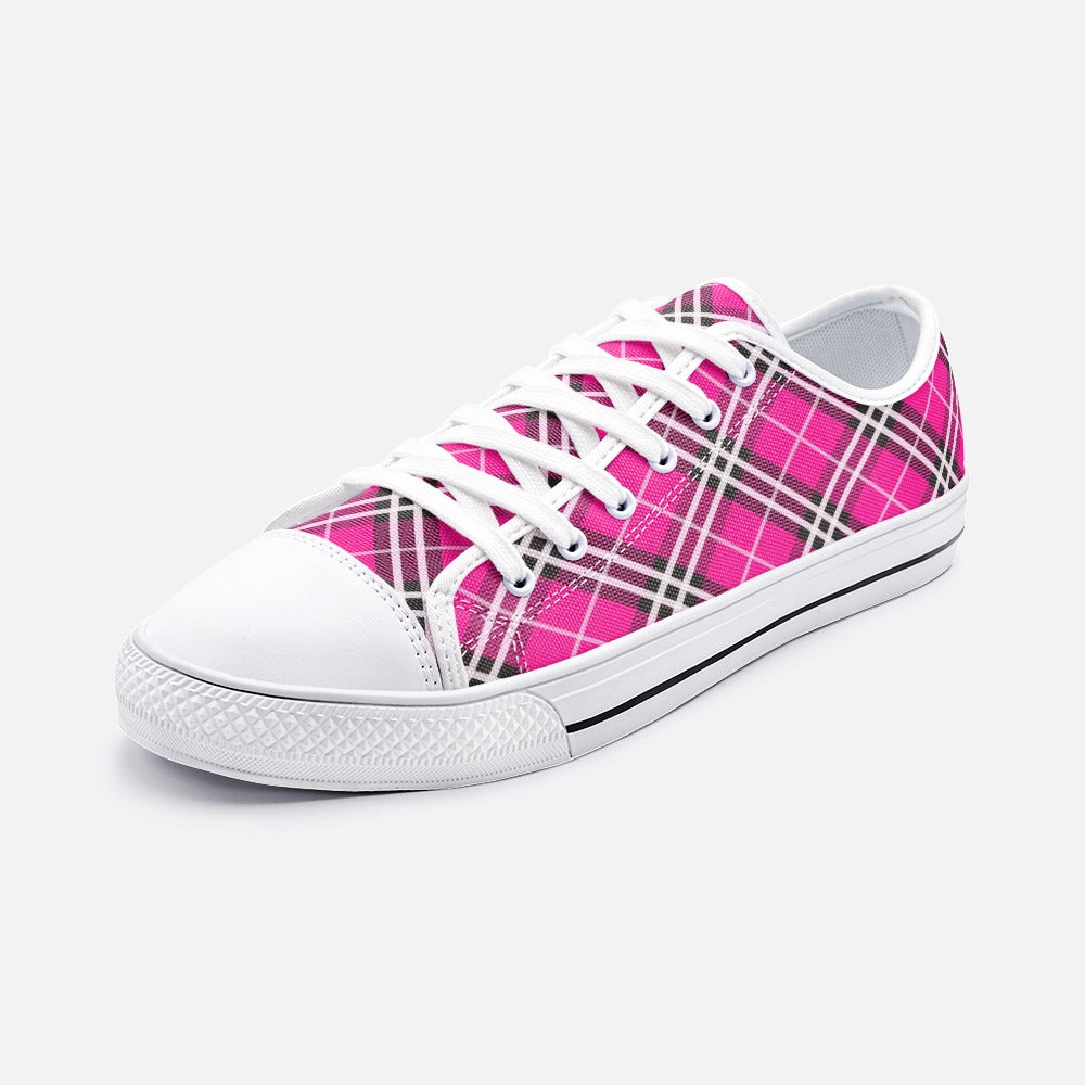 Bright Pink Tartan Plaid Unisex Low Top Canvas Shoes