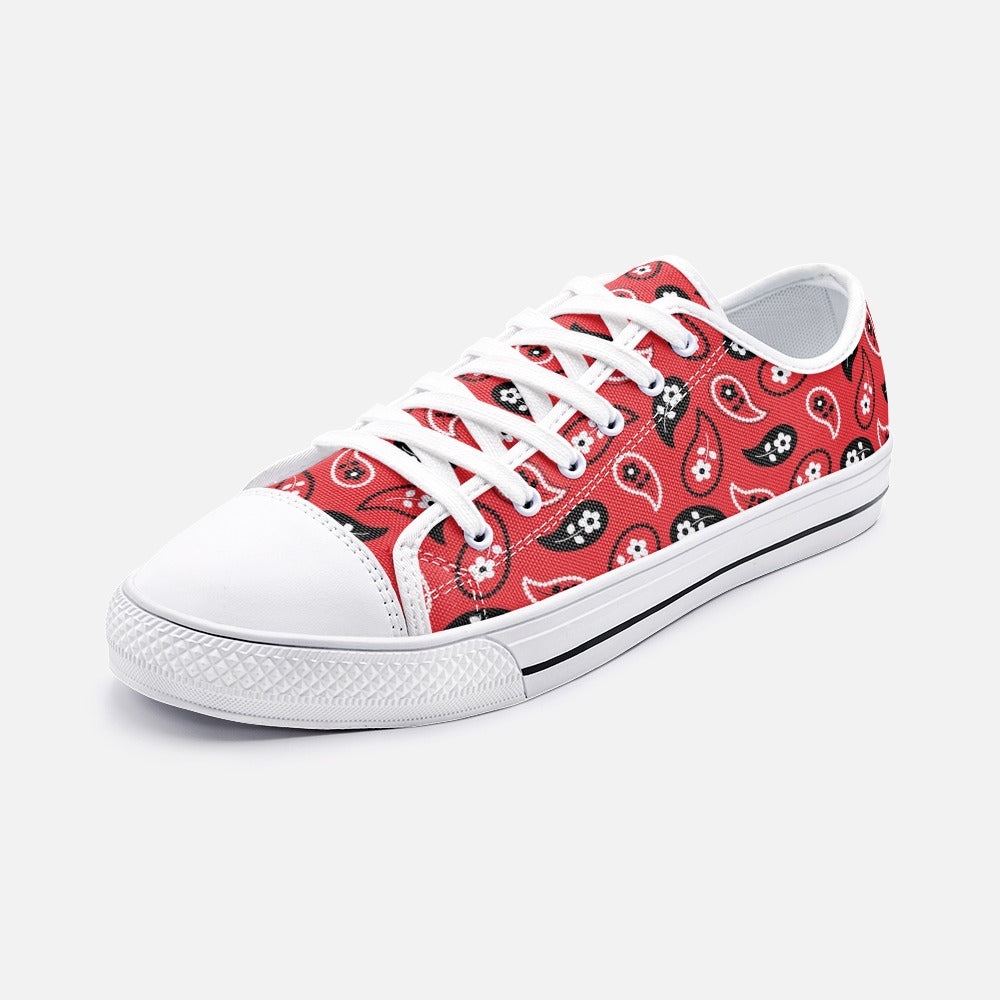Red Paisley Low Top Canvas Shoes
