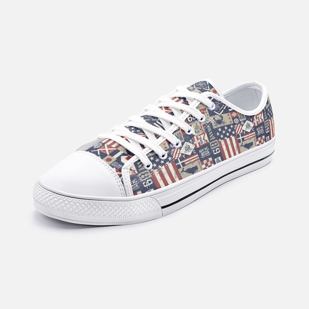 Vintage Flag Quilt Style Unisex Low Top Canvas Shoes