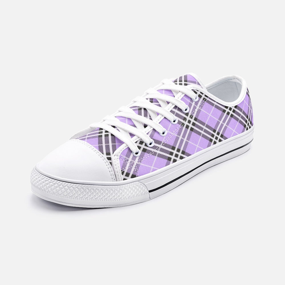 Purple Tartan Unisex Low Top Canvas Shoes