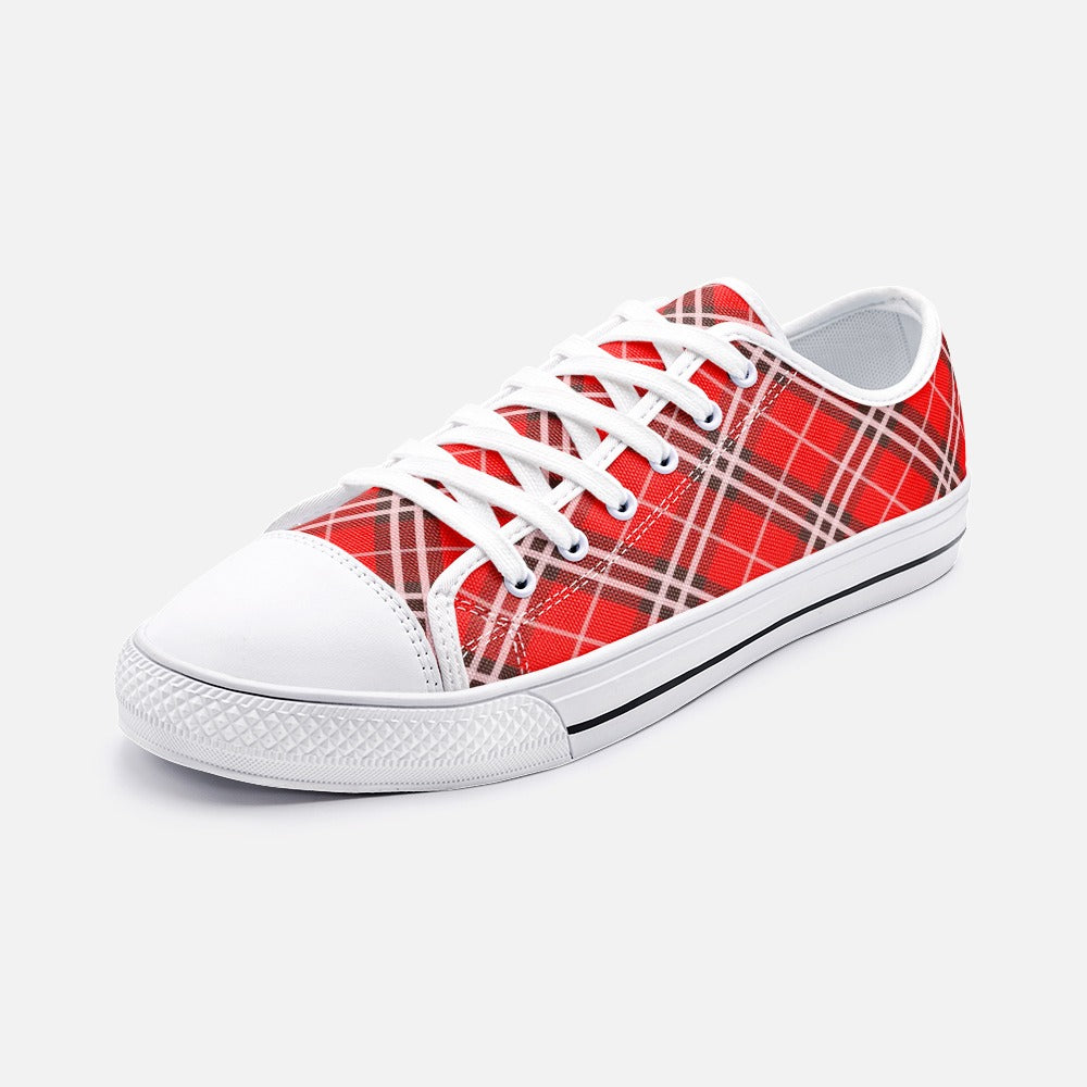Red Plaid Tartan Unisex Low Top Canvas Shoes