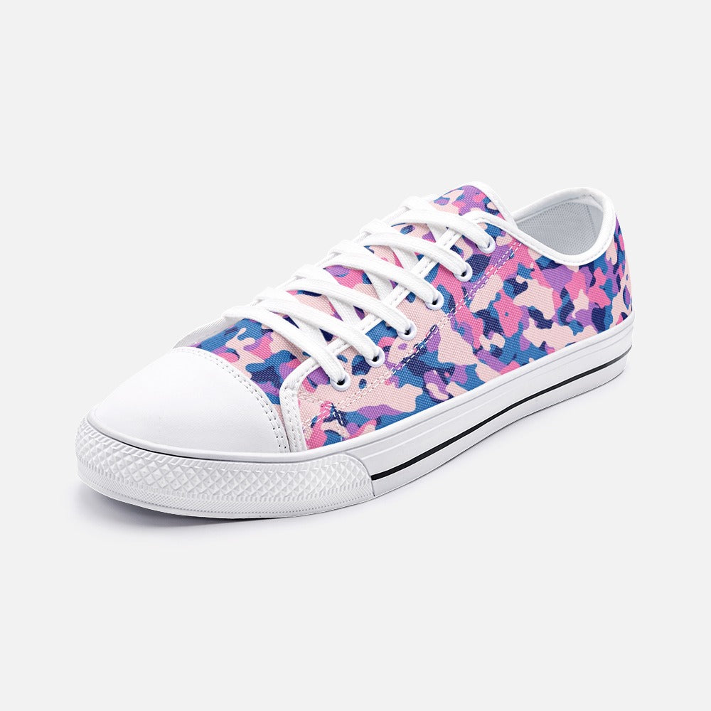 Pink And Purple Unisex Low Top Canvas Shoes