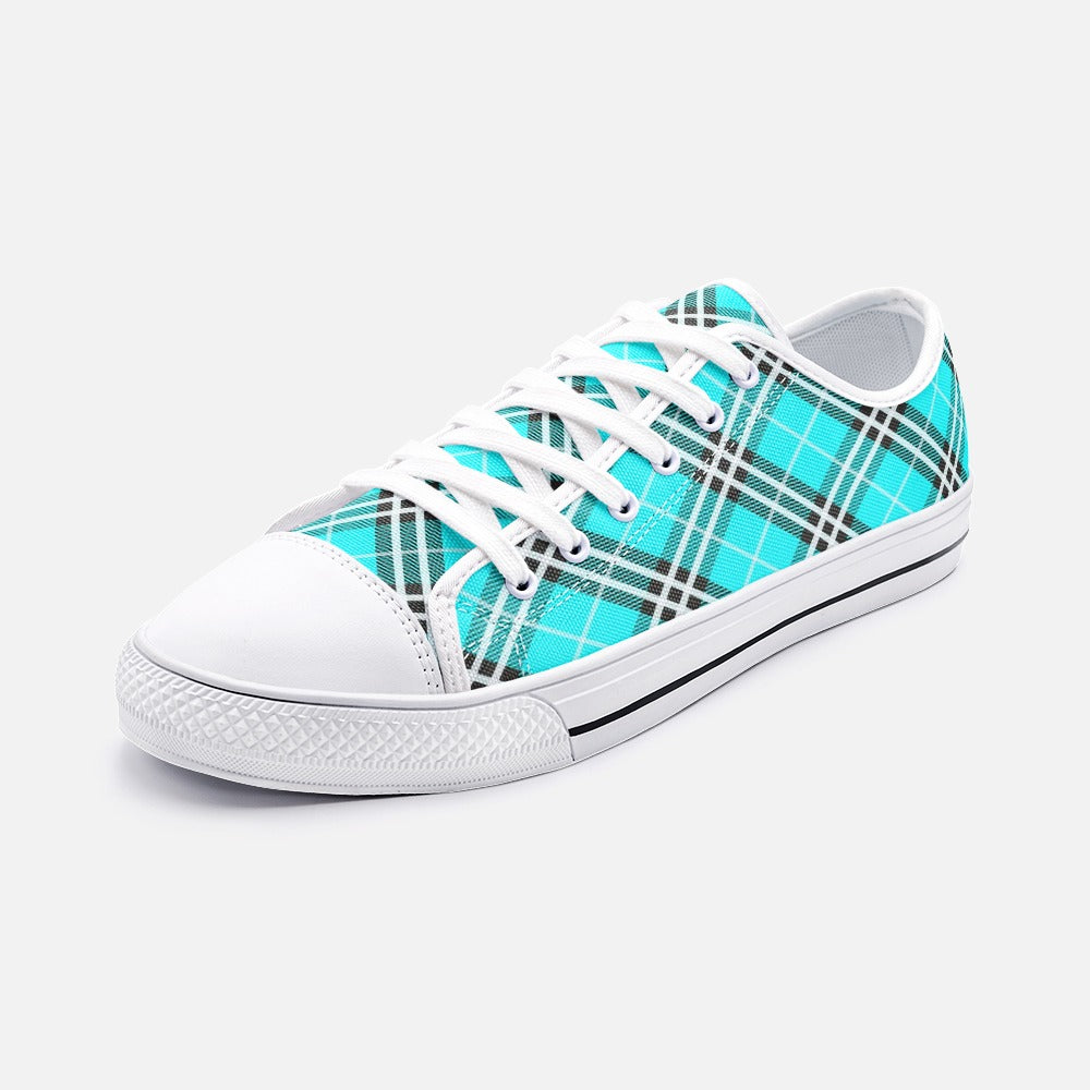 Blue Tartan Plaid Unisex Low Top Canvas Shoes