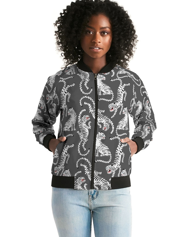 Black and White Tiger Women's Bomber Jacket
