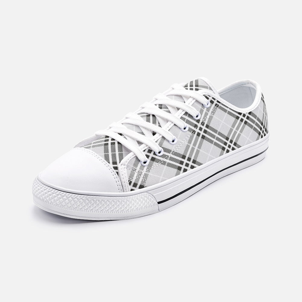 Black Tartan Unisex Low Top Canvas Shoes