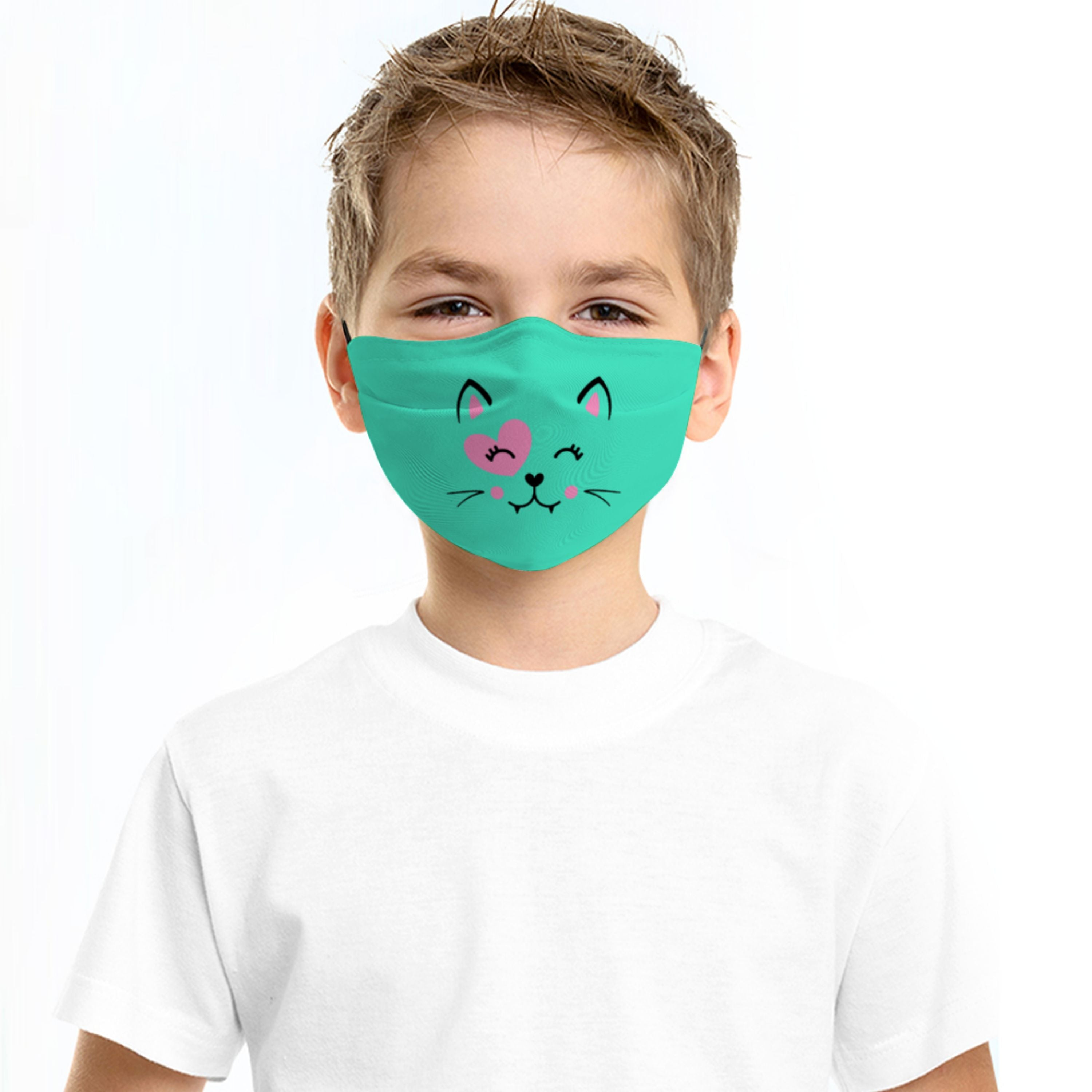 Turquoise Cat Face Mask