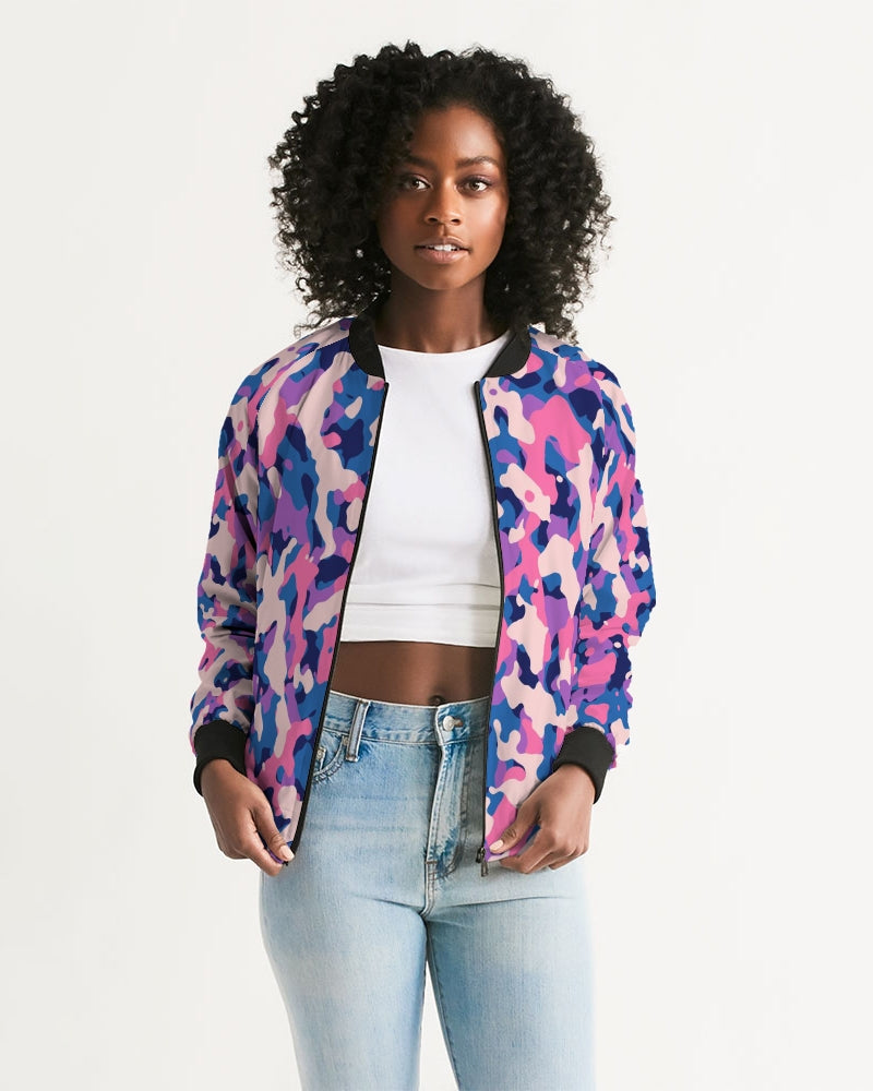 Bright Pink Camouflage Women's Bomber Jacket