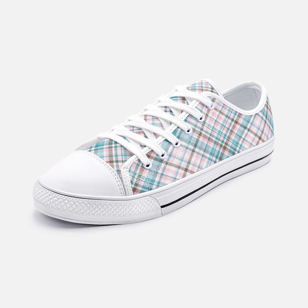 Brown and Blue Tartan Unisex Low Top Canvas Shoes
