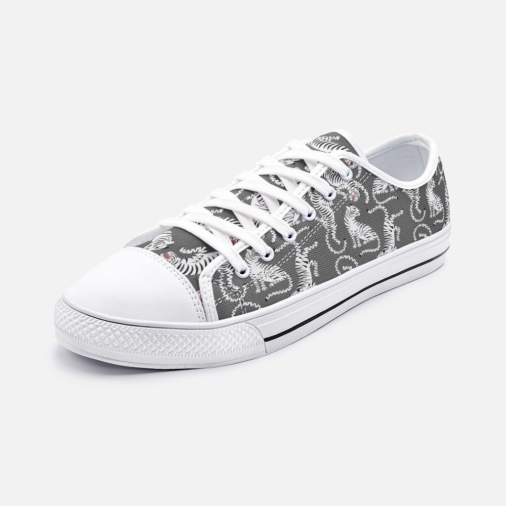 Black and White Tiger  Low Top Canvas Shoes