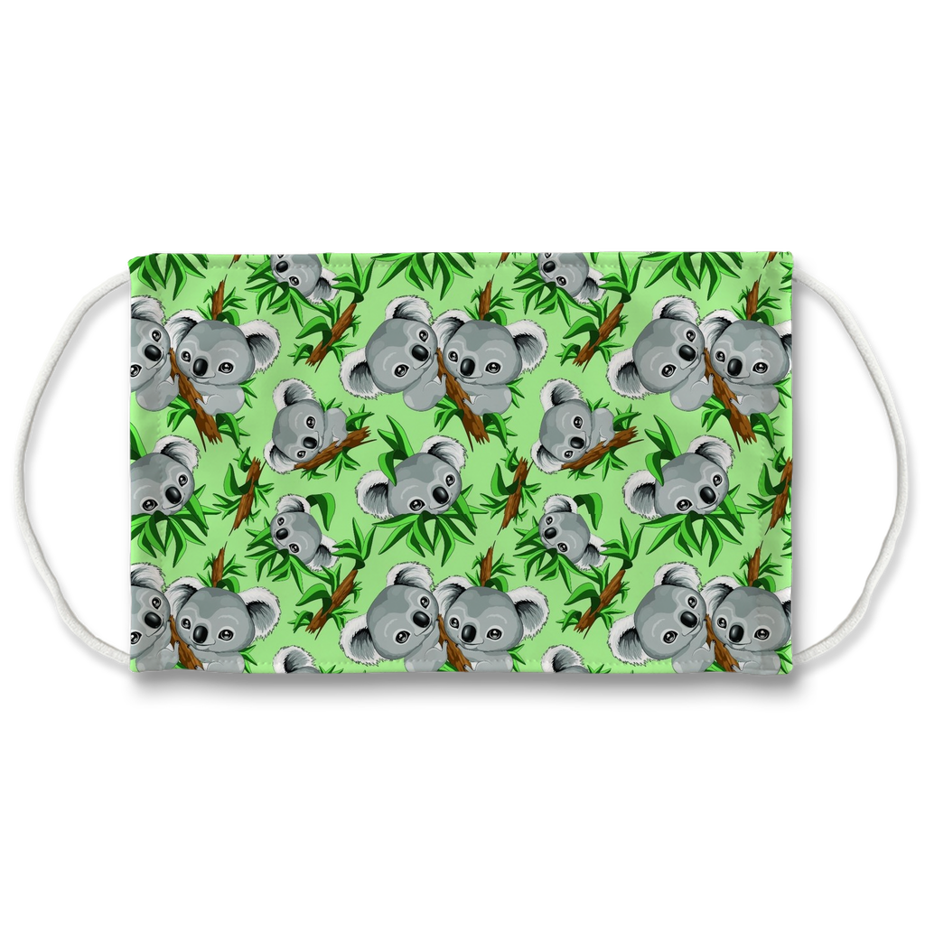 Green Koala Sublimation Face Mask